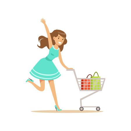 Mujer feliz en un vestido azul con carrito de compras, ir de compras en la tienda de comestibles, supermercado o tienda minorista, vector de caracteres coloridos Ilustración