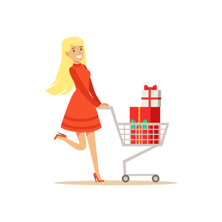 Happy woman in a red dress walking with a shopping cart full of gift boxes, shopping in grocery store, supermarket or retail shop, olorful character vector Illustration
