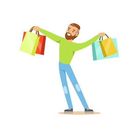 Elegant young handsome man standing with shopping bags colorful character vector Illustration Illustration