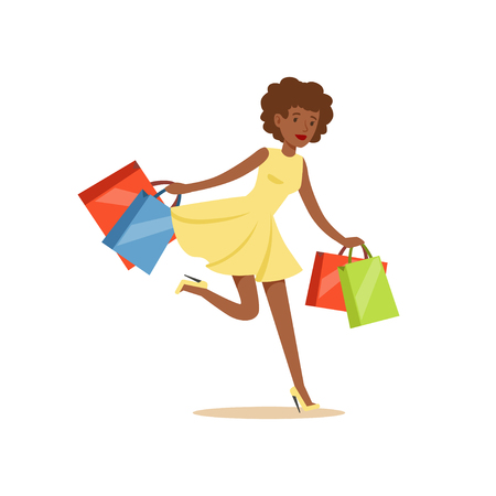 Young black beautiful woman running with a lot of shopping bags colorful character vector Illustration Çizim