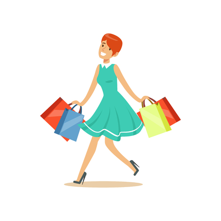 Young beautiful redhead woman in an elegant dress walking with shopping bags colorful character vector Illustration