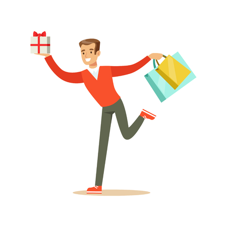Happy young man in a red pullover running with gift box and shopping bags colorful character vector Illustration Illustration