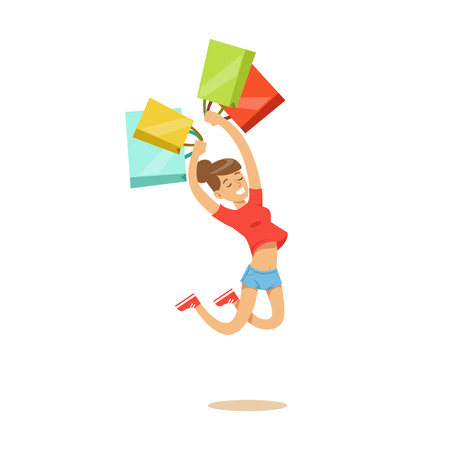 Young happy woman in a casual clothes jumping with shopping bags colorful character vector Illustration