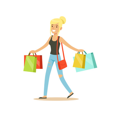 Happy blonde woman in a casual clothes walking with shopping bags colorful character vector Illustration Illustration