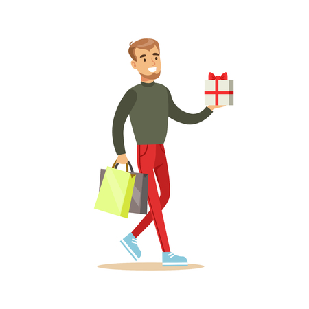 Elegant young handsome man with gift box and shopping bags colorful character vector Illustration