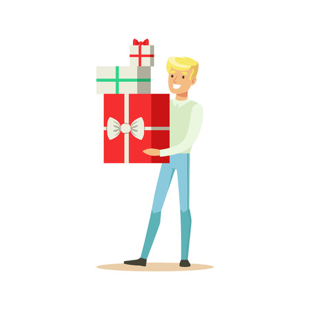 Happy young man standing and holding gift boxes colorful character vector Illustration Illustration