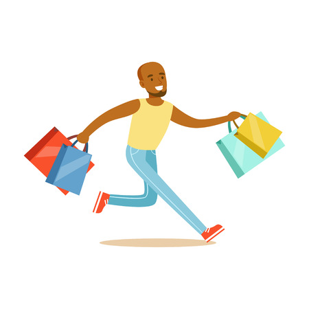 Young black man running with shopping bags colorful character vector Illustration Ilustração