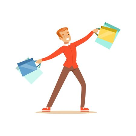 Elegant young handsome man in a red pullover with gift box and shopping bags colorful character vector Illustration