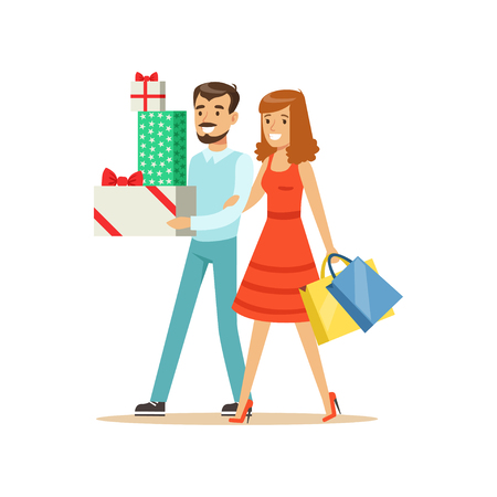 Happy family couple walking with shopping bags and gift boxes