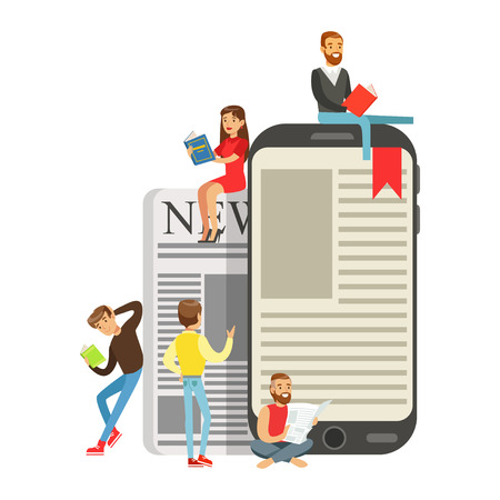 Micro young women and men sitting on a giant electronic book and newspaper