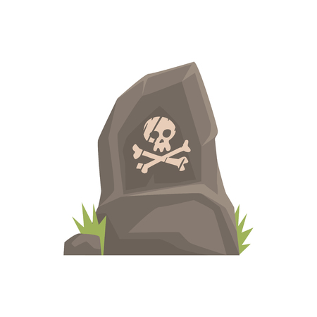 Grey tombstone with skull and bones vector Illustration Иллюстрация