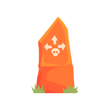 Orange tombstone with skull and arrows vector Illustration