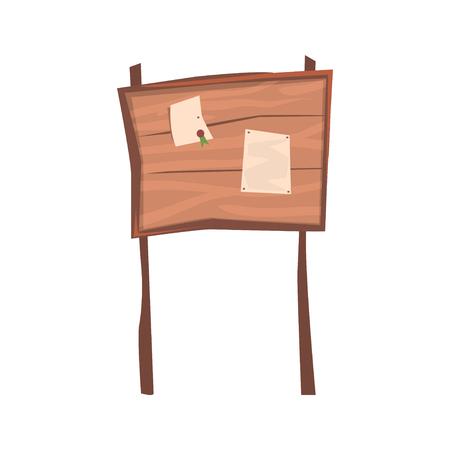 古い木製のボードでお知らせベクトル イラスト