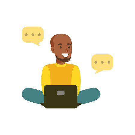 Jeune homme noir souriant assis sur le sol en montrant dans le fichier de médias sociaux personnage coloré illustration vectorielle Banque d'images - 83698962