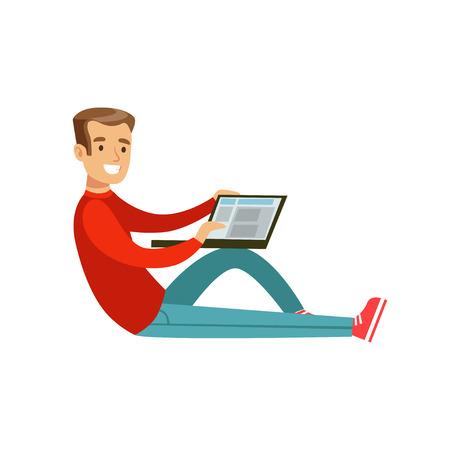 彼のラップトップのカラフルな文字を使用して、床に坐っている人を笑っている若いベクトル イラスト