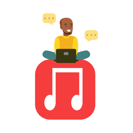 using laptop: Young black man sitting on a big mobile musical app symbol and using his laptop colorful character vector Illustration