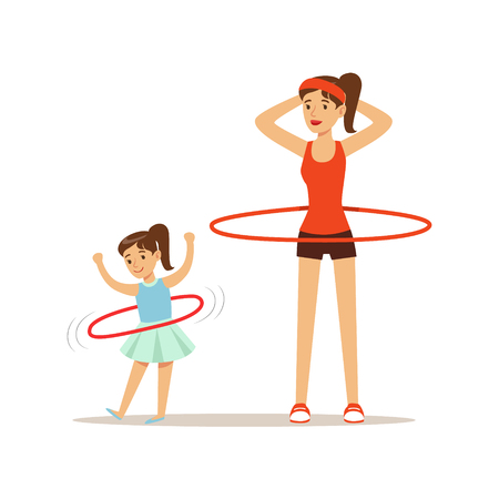 Woman and girl spinning a hula hoop around the waist, mom and daughter having good time together colorful characters Иллюстрация