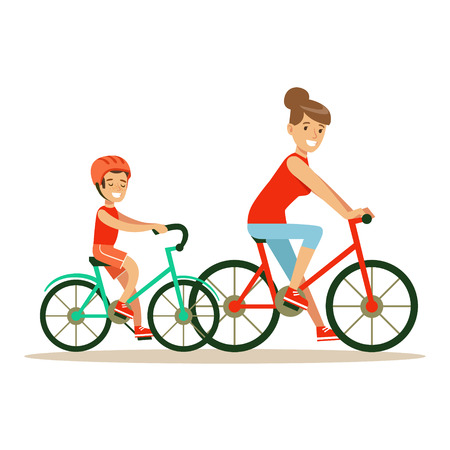 Smiling woman and boy riding bikes, mom and son having good time together colorful characters 向量圖像