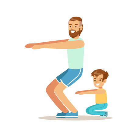 Smiling man and boy squatting, dad and son having good time together colorful characters vector Illustration
