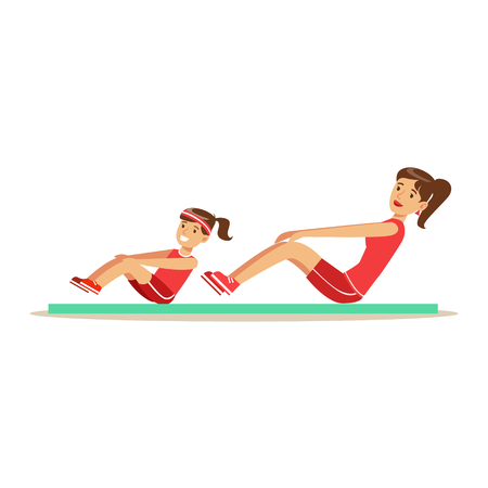 Smiling woman and girl doing pull ups for Abs on mat, mom and daughter having good time together colorful characters