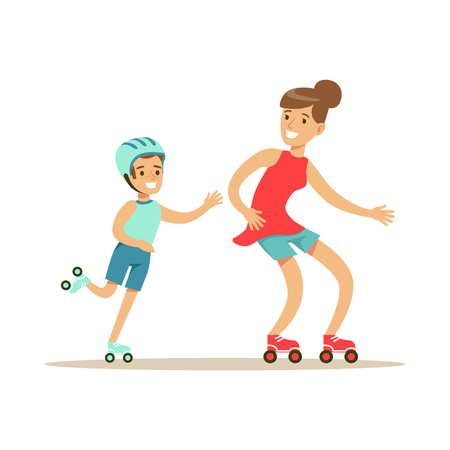 Smiling woman and boy roller skating, mom and son having good time together colorful characters