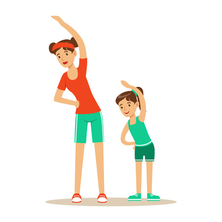 Smiling woman and girl doing fitness exercises, mom and daughter having good time together colorful characters