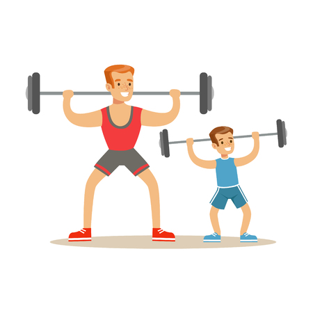 Smiling man and boy lifting dumbell, dad and son having good time together colorful characters vector Illustration