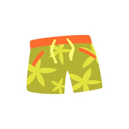 Green shorts for swimming cartoon vector Illustration
