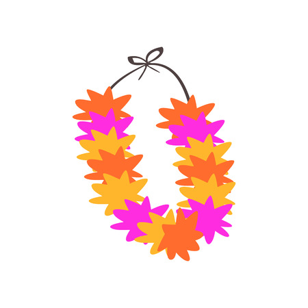 Colorful necklace, lei with bright colorful flowers vector Illustration