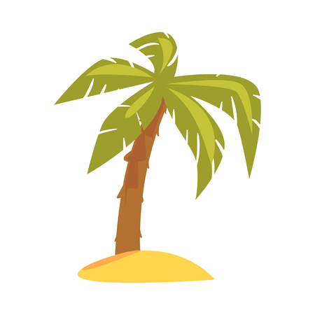 Green tropical palm cartoon vector Illustration Ilustrace