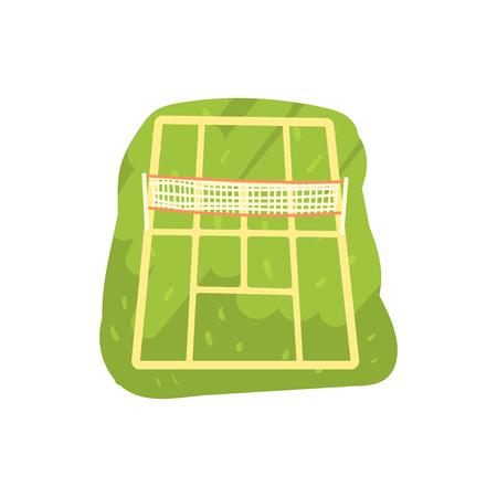 Green tennis court cartoon vector Illustration