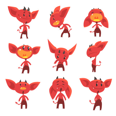 Cartoon funny red devil characters with different emotions set of vector Illustrations