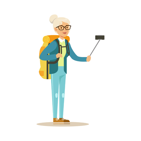 Active senior woman with backpack making selfie on smartphone colorful character vector Illustration