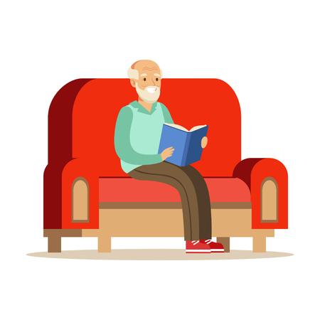 소파에 앉아 책을 읽고 회색 수석 남자 다채로운 문자 벡터 일러스트 일러스트