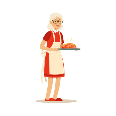 Senior woman standing and holding a tray with fresh baked pie colorful character vector Illustration