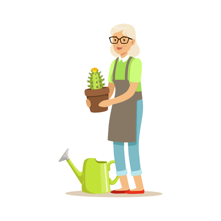 Active senior woman planting cactus in a pot colorful character vector Illustration