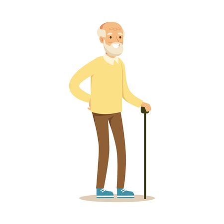 Grey smiling senior man standing with cane colorful character vector Illustration