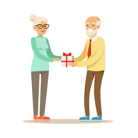 Smiling grey senior giving gift box to beautiful senior woman colorful characters vector Illustration Illustration