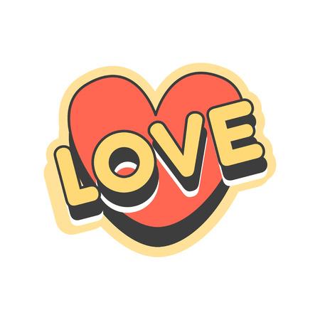 愛のショート メッセージ、ハートのベクトル図の形をしたレトロな吹き出し  イラスト・ベクター素材