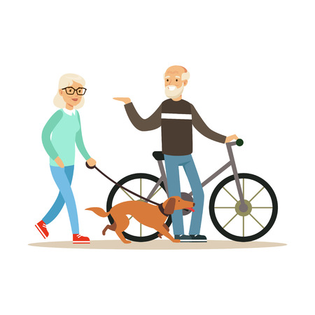 Old man standing next to a bike, senior woman walking with dog, healthy active lifestyle colorful characters vector Illustration