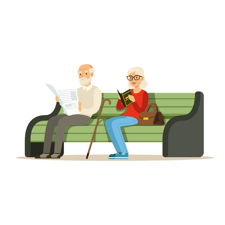 Seniors sitting on a wooden bench and reading books colorful characters vector Illustration