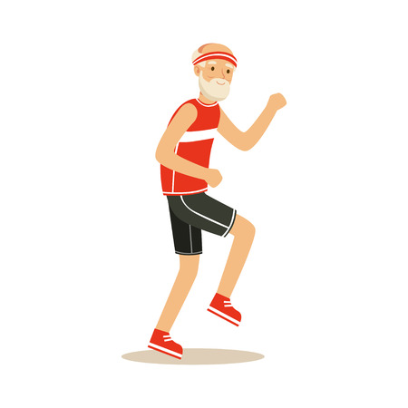 Happy senior runner man doing exercise to stay healthy, healthy active lifestyle colorful characters vector Illustration