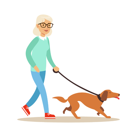 Senior vrouw lopen met hond, gezonde actieve levensstijl kleurrijke karakters vector illustratie Stockfoto - 83954457