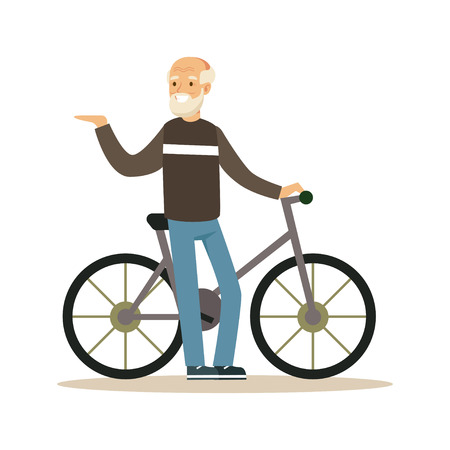 Happy senior man walking with bike, healthy active lifestyle colorful character vector Illustration Illustration