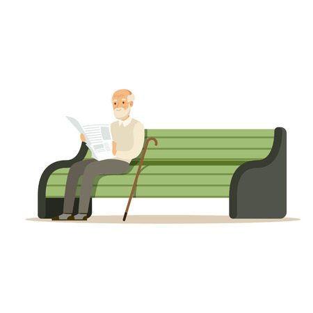 Grey senior man sitting on a wooden bench and reading book colorful character vector Illustration