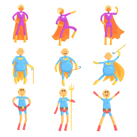 Funny elderly men in hero costume, old superhero in action cartoon characters set of vector Illustrations