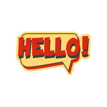 Hallo korte uitdrukking, tekstballon in retro stijl vector illustratie
