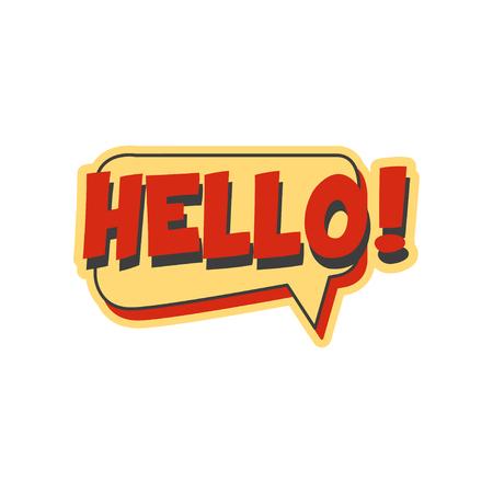 Hello short phrase, speech bubble in retro style vector Illustration Ilustrace