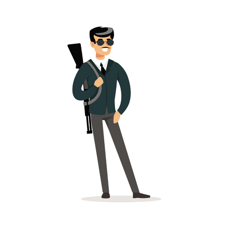 Mafia man character in sunglasses with a gun on his shoulder vector Illustration Vectores