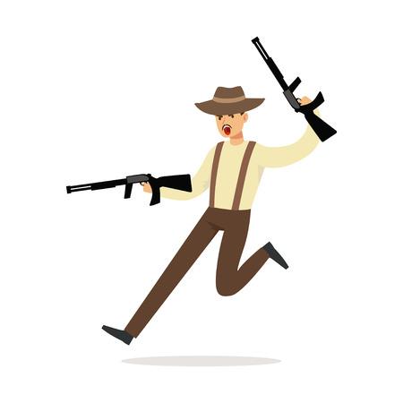 두 기관단총 벡터 일러스트와 함께 실행하는 갈색 페도라 모자에서 마피아 남자 문자
